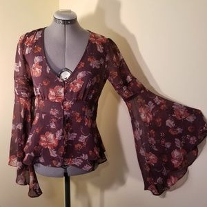 F21 Sheer Purple Floral Bell Sleeves Blouse Hippie